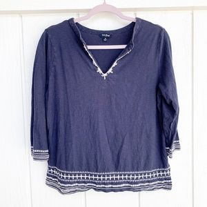 LUCKY BRAND Blue & White Embroidered Top M
